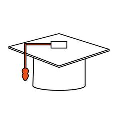 Color silhouette image graduation cap vector