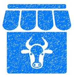 Cow farm icon grunge watermark vector