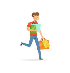 Crazy man with paper shopping bags shopaholic man vector