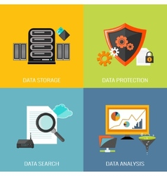 Database icons flat vector image vector image
