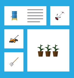 Flat icon farm set of container hay fork grass vector
