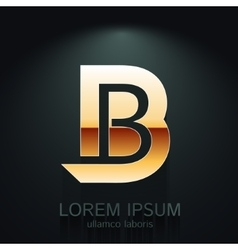 Graphic elegant gold letter b vector