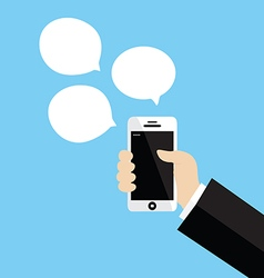 Hand holding white smartphone vector image vector image