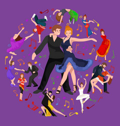 happy salsa dancers couple isolated on white icon vector image vector image