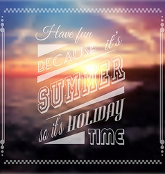 Happy summer poster with a colorful sunset blurred vector image vector image