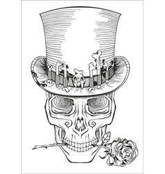 Human skull in a top hat vector