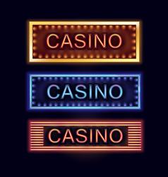 illuminated casino signboards vector image vector image