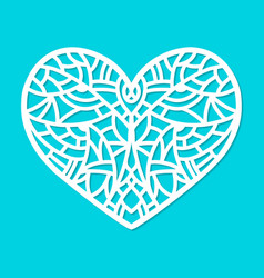 laser cut heart ornament cutout pattern vector image