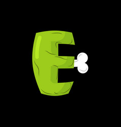 Letter e zombie font monster alphabet bones and vector