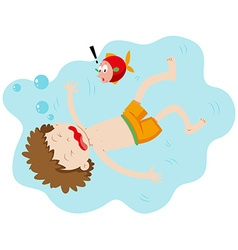 Little boy drowning under the water vector