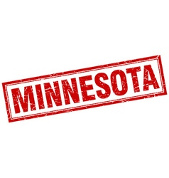 Minnesota red square grunge stamp on white vector