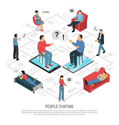 People chatting isometric flowchart poster vector