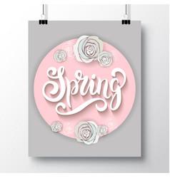 Poster with a handwritten phrase-hello spring 4 vector