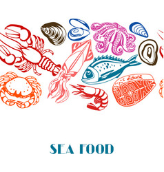 seamless pattern with various seafood vector image vector image