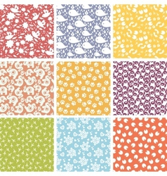 Set of nine cute elements seamless patterns vector image vector image