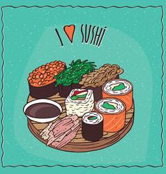 set of sushi rolls gunkan and maki vector image