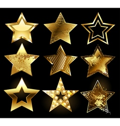Set of Textured Gold Stars vector image vector image