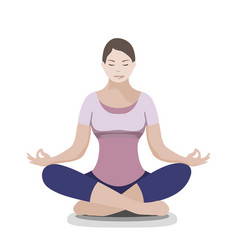 silhouette of yoga woman padmasana - lotus pose vector image