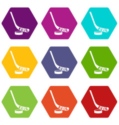 Stick and puck icon set color hexahedron vector