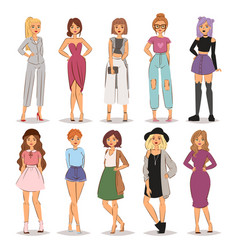 street fashion woman models hand drawn style vector image