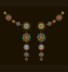 symmetrical ethnic decoration with lapis lazuli vector image vector image