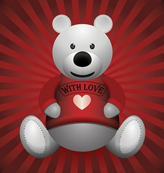 valentine day white teddy bear on wooden vector image vector image