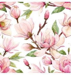 Watercolor magnolia floral pattern vector