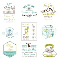 Wedding vintage card invitation collection vector