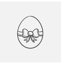Easter egg with ribbon sketch icon vector image