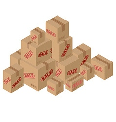 Sale of lot of cardboard boxes Set of paper vector image