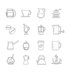 Coffee thin line icons set vector