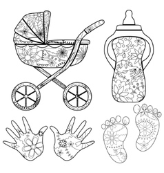 Coloring set baby vector image