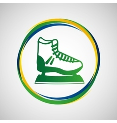 Ice skater sport badge icon vector