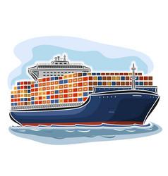 Container ship vector