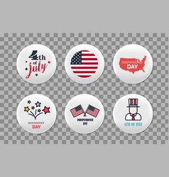 Steel round badges set patriotic brooch 4th of vector
