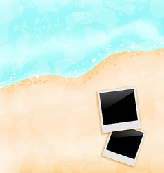 Beach background with set photo frames vector