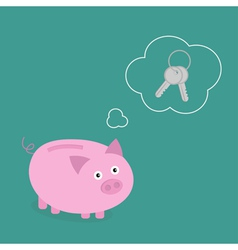 Piggy bank dream about key think bubble empty flat vector