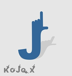 Letter j logo letters with a hand finger pointing vector