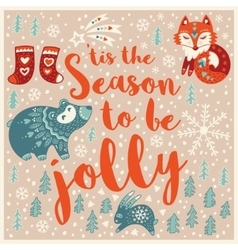 Greeting holiday card with fox bear rabbit and vector