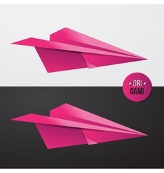 Pink origamy paper airplane illsutration vector
