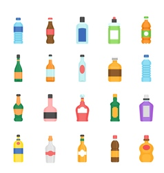 Color icon set - bottle and beverage vector