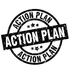 Action plan round grunge black stamp vector