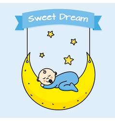 Baby boy sleeping on the moon vector