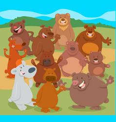 cartoon bears animal characters group vector image vector image