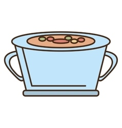 Cartoon pot soup cooking vegetables design vector
