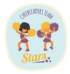 Cheerleader girls team dancing with poms vector