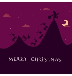Christmas background with Santa and deers vector image vector image