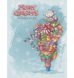 Christmas card with gifts toys lamb christmas vector image