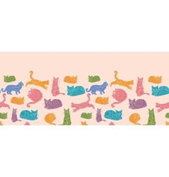 Colorful cats silhouettes horizontal seamless vector image vector image