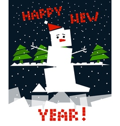 Cubic snowman vector image